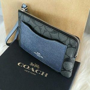 COACH monogram card holder/wristlet